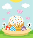 Fondo felice di Pasqua con il dolce e le uova Fotografia Stock