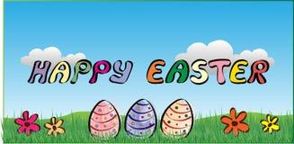 Fondo felice di Pasqua con le uova, i fiori e le nuvole fotografia stock libera da diritti