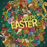 Fondo felice di Pasqua di scarabocchi disegnati a mano del fumetto royalty illustrazione gratis