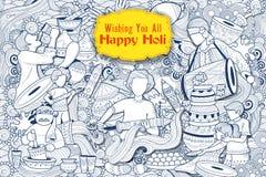 Fondo felice di scarabocchio di Holi per il festival dei saluti di celebrazione di colori illustrazione vettoriale