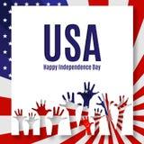 Fondo felice di U.S.A. di festa dell'indipendenza dell'insegna del testo patriottico del manifesto della bandiera americana con i illustrazione vettoriale