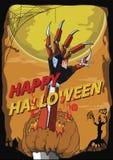 Fondo felice di vettore dell'uccisore del robot della mano di Halloween Illustrazione Vettoriale
