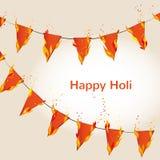 Fondo felice variopinto astratto di Holi con con le bandiere ardenti Progettazione per il festival indiano dei colori Immagine Stock Libera da Diritti