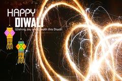 Fondo feliz de Diwali con diya y el petardo fotografía de archivo libre de regalías
