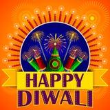 Fondo feliz de Diwali con el petardo colorido stock de ilustración