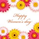 Fondo feliz de la flor del día del ` s de las mujeres ilustración del vector