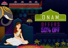 Fondo feliz de la promoción de venta de los saludos del festival de Onam para marcar el festival hindú anual de Kerala, la India ilustración del vector