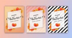 Fondo feliz de la tarjeta de felicitaciones del ` s de Autumn Season Imagenes de archivo