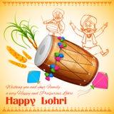Fondo feliz de Lohri stock de ilustración