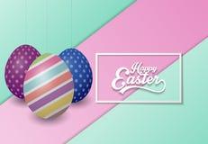Fondo feliz de Pascua con los huevos adornados coloreados stock de ilustración