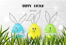 Fondo feliz de Pascua con los huevos y la hierba coloridos divertidos en textura de madera Caza del huevo Ilustración del vector  libre illustration