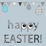 Fondo feliz de pascua con los huevos y las banderas Diseño de la moda de la tarjeta de felicitación Plantilla de la invitación, e Fotos de archivo