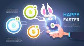Fondo feliz de Pascua Infographic con el teléfono elegante del control de la mano con Bunny Ears Over Template Elements ilustración del vector