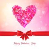 Fondo feliz del bokeh del día de tarjeta del día de San Valentín con la cinta y el arco Fotos de archivo