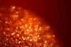 Fondo feliz del brillo de los corazones de la tarjeta del día del ` s de la tarjeta del día de San Valentín Corazón rojo Imagen de archivo