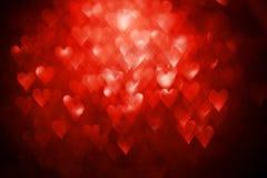 Fondo feliz del brillo de los corazones de la tarjeta del día del ` s de la tarjeta del día de San Valentín Corazón rojo Fotografía de archivo libre de regalías