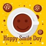 Fondo feliz del concepto del día del café de la sonrisa, estilo plano ilustración del vector