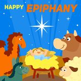 Fondo feliz del concepto de la epifanía, estilo de la historieta stock de ilustración