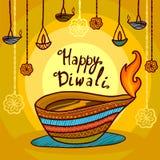 Fondo feliz del concepto del diwali de la India, estilo exhausto de la mano libre illustration