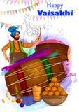 Fondo feliz del día de fiesta religioso del Punjabi de Vaisakhi para el festival del Año Nuevo de Punjab la India libre illustration