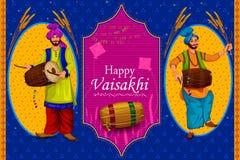 Fondo feliz del día de fiesta religioso del Punjabi de Vaisakhi para el festival del Año Nuevo de Punjab la India stock de ilustración