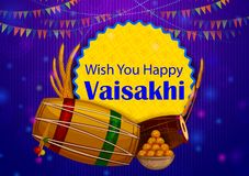 Fondo feliz del día de fiesta religioso del Punjabi de Vaisakhi para el festival del Año Nuevo de Punjab la India ilustración del vector