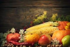 Fondo feliz del día de la acción de gracias, tabla de madera adornada con las calabazas, maíz, frutas y hojas de otoño Fotos de archivo libres de regalías