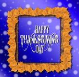 Fondo feliz del día de la acción de gracias con las hojas amarillas Fotos de archivo libres de regalías