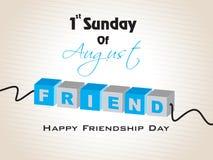 Fondo feliz del día de la amistad con el texto colorido Imagen de archivo