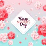 Fondo feliz del día de madres con las flores - vector el ejemplo ilustración del vector