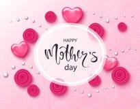 Fondo feliz del día de madres con las rosas, las gotas y los corazones hermosos Tarjeta de felicitación Plantilla del ejemplo del ilustración del vector