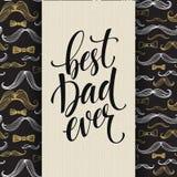Fondo feliz del día de padres con las letras del saludo y el modelo del bigote Ilustración del vector ilustración del vector