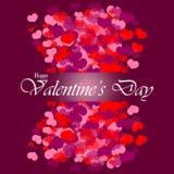 Fondo feliz del día de tarjeta del día de San Valentín con los corazones Foto de archivo
