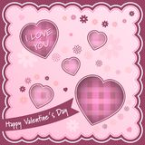 Fondo feliz del día de tarjetas del día de San Valentín con los corazones y las flores Fotografía de archivo libre de regalías