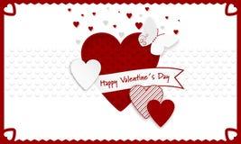 Fondo feliz del día de tarjetas del día de San Valentín Corazones rojos y blancos como símbolo del amor, cinta y butterly Fotos de archivo