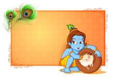 Fondo feliz del papel pintado de Janmashtami Fotos de archivo