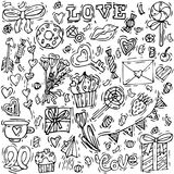 Fondo feliz del saludo del día de tarjetas del día de San Valentín icono del amor Bosqueje el ejemplo linear del estilo para el d stock de ilustración