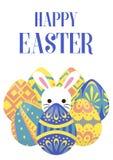 Fondo feliz del saludo de pascua con el huevo alrededor del conejito Fotografía de archivo libre de regalías