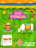 Fondo feliz del saludo y de las compras de Pongal Fotografía de archivo libre de regalías