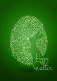 Fondo feliz del verde de Pascua con el huevo y el conejo Imagen de archivo