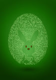 Fondo feliz del verde de Pascua con el huevo y el conejo Fotografía de archivo libre de regalías