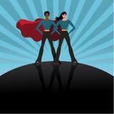 Fondo femenino de la explosión de los super héroes Fotografía de archivo