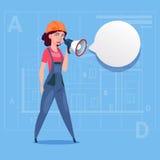 Fondo femenino de Over Abstract Plan del trabajador de construcción de la mujer del aviso de Holding Megaphone Making del constru Fotos de archivo libres de regalías