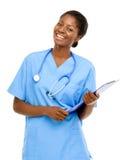 Fondo femminile afroamericano sicuro di bianco di medico del ritratto fotografia stock