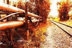 Fondo ferroviario de la ciudad del Cyberpunk Fotos de archivo