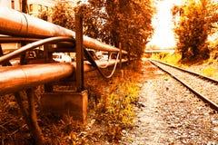 Fondo ferroviario de la ciudad del Cyberpunk Fotografía de archivo libre de regalías