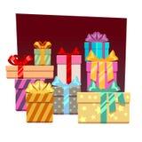 Fondo festivo abstracto del vector con las cajas de regalo libre illustration