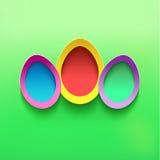 Fondo festivo con el huevo de tres Pascua Imagen de archivo libre de regalías