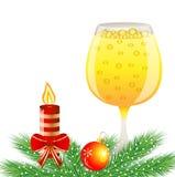Fondo festivo con el vidrio de decorat del champán y de la Navidad Fotografía de archivo