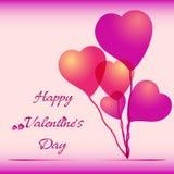 Fondo festivo con gli aerostati del cuore sul San Valentino 14 febbraio giorno per tutti gli amanti royalty illustrazione gratis